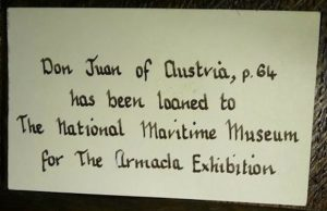 Photograph of an exhibition label for a Knole House portrait of John of Austria lent to the 1988 Armada Exhibition at the National Maritime Museum