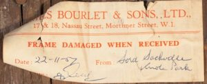 Label from conservation work at Bourlet & Sons for Knole House portrait of Sir John Norris