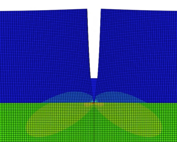 Graphic showing a detail of a finite element analysis of monotonic channeling for IMPASTOW