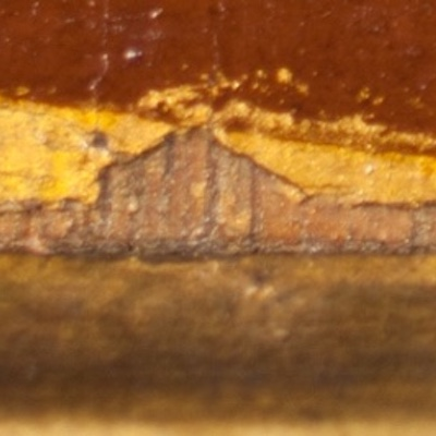 Detail of a painting from Knole House showing an example of IMPASTOW delimitation type C with panel wood exposed