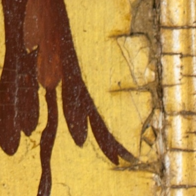 Detail of a painting from Knole House showing an example of IMPASTOW minor crack type B, which are edge cracks where the panel meets the frame