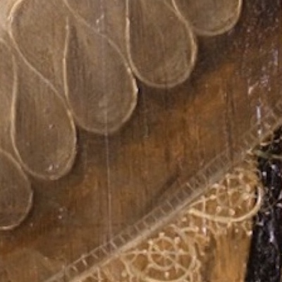 Detail of a painting from Knole House showing an example of IMPASTOW minor crack type D, which are isolated cracks in the portrait ovals