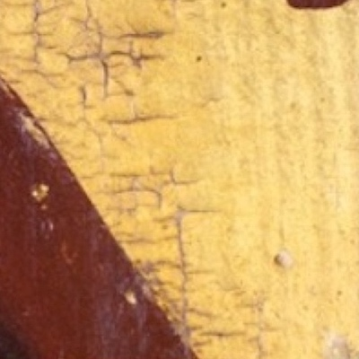 Detail of a painting from Knole House showing an example of IMPASTOW network crack type B, which are small connected islands of cracks within the gilding