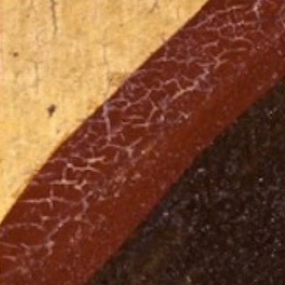 Detail of a painting from Knole House showing an example of IMPASTOW network crack type E, which are edge networks of cracks in the red/brown oval decoration