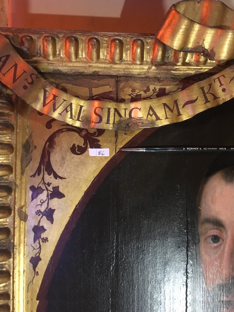 Colour photograph showing the detail of an area of Knole House portrait 45 sampled for analytic purposes