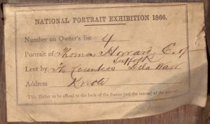 Photograph of an exhibition label for a Knole House portrait of Thomas Howard, Earl of Suffolk, lent to the 1866 Exhibition of National Portraits