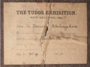 1890 Tudor Exhibition label for Knole House portrait of John Fisher