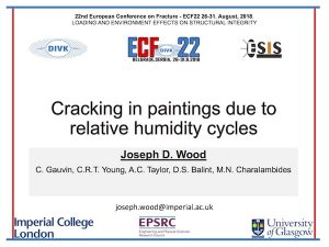 Title slide for presentation of Wood, J.D., Gauvin, C. , Young, C.R.T. , Taylor, A.C., Balint, D.S. and Charalambides, M.N. (2018) Cracking in paintings due to relative humidity cycles. 22nd European Conference on Fracture - ECF22: Loading and Environment Effects on Structural Integrity, Belgrade, Serbia, 26-31 August 2018